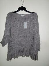 NWT Alberto Makali Gray 3/4 Sleeve Crochet Asymetrical Fringe Hem Top Large