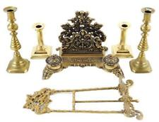 Brass accessories, six pieces: letter holder with dual inkwells, dark p. Lot 8