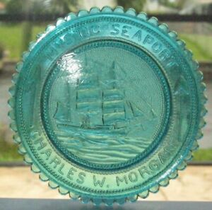 Mystic Seaport - Charles W. Morgan - Pairpoint Cup Plate - Blue color - my#83