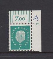 BRD Mi-Nr. 302 **  postfrisch - Bogenecke oben rechts mit Druckerzeichen 7
