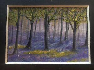 Original ACEO Miniature Oil Painting In Mount 'Bluebells And Trees' By Suzi A