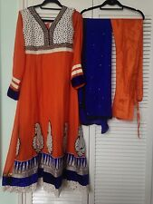 Brand New orange and blue indian anarkali dress with churidaar and dupatta