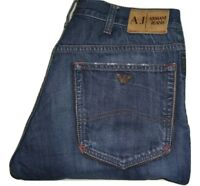 Mens AJ ARMANI Distressed Dark Blue Denim Jeans W32 L34 Straight Leg