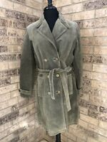 Wilson's Leather Maxima Olive Green Mid-Length Suede Leather Jacket Women's M