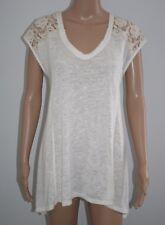 Bobeau Womens Cream Lace Trim Asymetrical Hem Sleeveless Top Size XL New