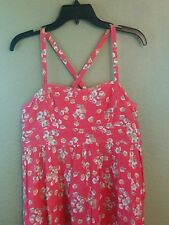 GAP Pink Coral Flower Spaghetti Strap A Line Dress M Made in India SUMMER DRESS