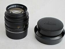 Leica M 50mm f:1.4 E43 black Summilux lens with caps 12586 metal hood LATE MINTY