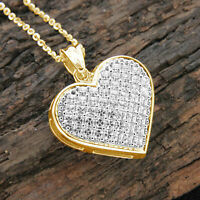 "1.30Ct Princess Cut D/VVS1 Diamond Heart Charm 18"" Pendant 14k Yellow Gold Over"