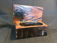 Old Vtg Wood Wooden Jewelry Trinket Box Tree Decorative Design