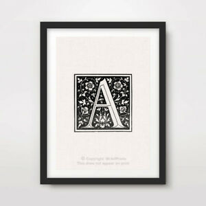 A LETTER INITIAL ART PRINT Poster A4 A3 A2 Typography Capital Design Black White