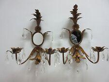 Vintage French Regency Metal Leaf Gold Wall Sconces Mirror