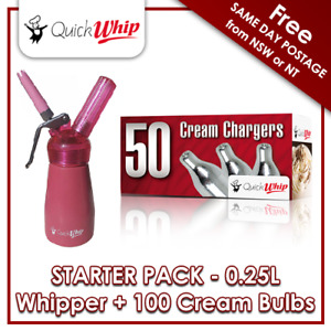 *NEW* 100 QuickWhip Cream Chargers & QuickWhip 0.25L Dispenser - PINK-  N2O