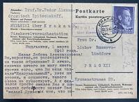 1943 Krakow GG Germany PC Chemical Censored Cover To Prague Czechoslovakia