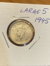 British India 1/4 Rupee 1945 Silver Coin, LARGE 5! King George 6. VERY RARE!!