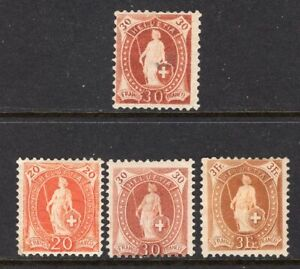Switzerland Standing Helvetia Cross in Oval 4 Different Incl 3fr Mint OG CV$350