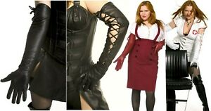 UNISEX SHOULDER HIGH REAL LAMBSKIN LEATHER LONG BLACK RED BROWN+ GLOVES XS-XXL