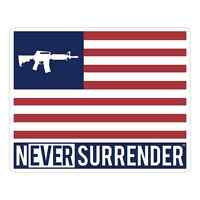 Never Surrender™ Logo, AR15 FLAG STICKER 100% Made in USA