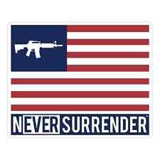 Never Surrender™ Logo, AR15 FLAG STICKER 100% Made in USA