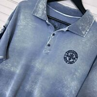 Affliction S/S Polo Shirt Embroidered Embellished 100% Cotton Acid Wash Mens XXL