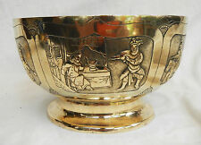 Antique Brass Chinese Repousse Work Story / Wedding Bowl - pre 1900