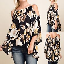 UK 8-24 Women Floral Printed Cold Off Shoulder Asymmetric Hem Tops Shirt Blouse