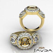 Round Diamond 3 Stone Wedding Bezel-Pave Semi Mount Ring 1.15Ct 18k Yellow Gold