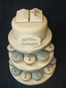 COMPLETE Set cake dec & cases for CHRISTENING / 1st COMMUNION cup cake tower