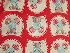 Mice Mouse Three Blind Mouse Red Blue Cotton Fabric FQ