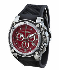 CALABRIA - CORSA - Red Chronograph Men's Watch with Carbon Fiber Bezel and Silic