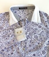 Betty Barclay Elements Womens Shirt Ink Purple Floral Design Size 10 S Cotton