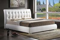 Modern King White Tufted Faux Leather Padded Platform Bed Frame