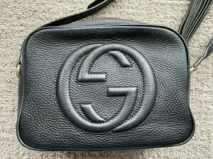 ❄❅❆❇❄❅❆❇❄❅❆❇Authentic Gucci Soho Disco Leather Shoulder Crossbody Bag Black - Be