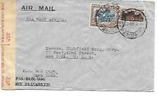 SOUTH AFRICA POSTAL HISTORY WWII CENSORED COVER ADDR USA CANC YRS'40