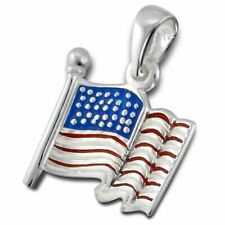 Silvadore AMERICAN USA FLAG 925 Sterling Silver Pendant for Chain Necklace 130