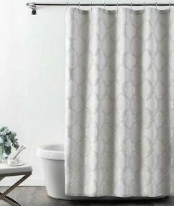 Croscill GWYNN Elegant Fabric Shower Curtain Silver Chain Geometric NIP
