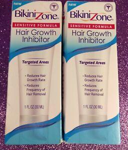 BIKINI ZONE Hair Growth Inhibitor Sensitive Formula 1 oz Targeted Areas LOT OF 2