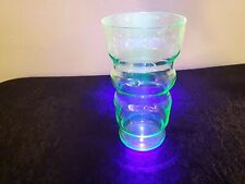 "Beautiful Vintage 5 1/2""  Ribbed Tumbler GLASS Green Uranium Depression Glass"
