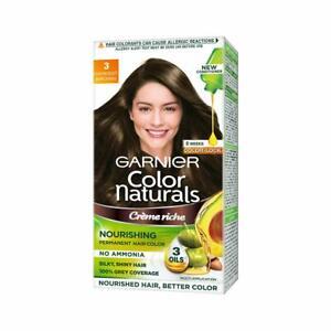 Garnier Naturals Crème Hair Color Shade 3 Darkest Brown,70ml+60g + Free Shipping