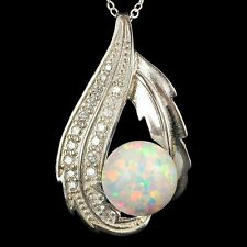 "Alducchi White Rainbow lab Fire Opal -CZ 925 Sterling Silver Pendant 18""Necklace"