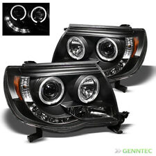 For 2005-2011 Toyota Tacoma Twin Halo LED Projector Headlights Blk Head Lights