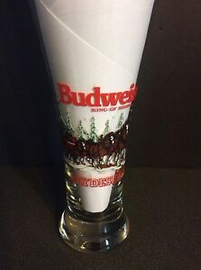 "1989 Budweiser Beer Pilsner Glass MINT Clydesdales Horses 7.5"" King of Beers"