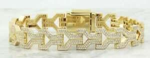 4Ct Round White Sim Diamond Mens Link Bracelet 14k Yellow Gold Plated 925 Silver