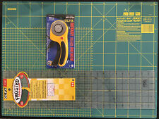 OLFA SET CUTTING MAT 24'' X 18' +ROTARY CUTTER RTY-3/DX + FROSTED RULER 6''X24''