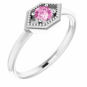 Pink Sapphire Geometric Ring In Platinum