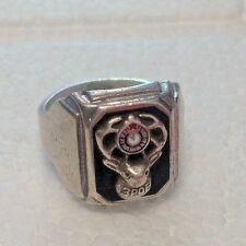 Vintage BPOE Elks Men's Sterling Silver and Black Onyx Ring-Size 9.5