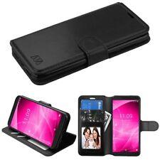 For ALCATEL Revvl 2 T-Mobile 3 Leather Flip Wallet Case Cover Pouch Stand BLACK
