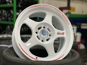NEW 15 inch EVO Regamaster design WHITE wheel (set of 4) 4x100 Honda Toyota Kia