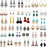 1 Pair Elegant Women Crystal Rhinestone Ear Stud Fashion Tassel Earrings Chain