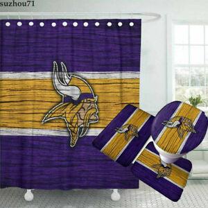 Minnesota Vikings Bathroom Shower Curtains Rugs Sets 4PCS Toilet Lid Cover Mats