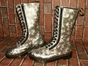 Dr. Martens 9733 JEWEL HOLOGRAPHIC 14-eye double zip leather boots uk 6 Doc#144